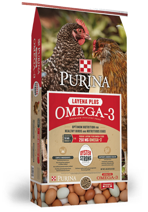 Purina Layena Omega-3 Chicken Feed available at Cherokee Feed & Seed Stores