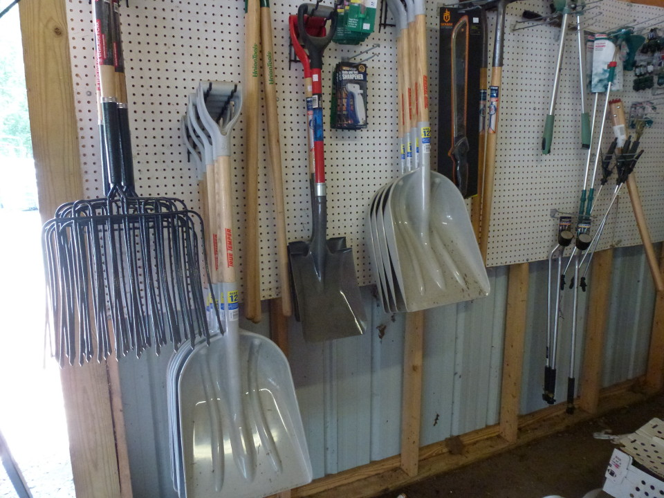 Shovels, forks and other necessary farm tools at Cherokee Feed & Seed