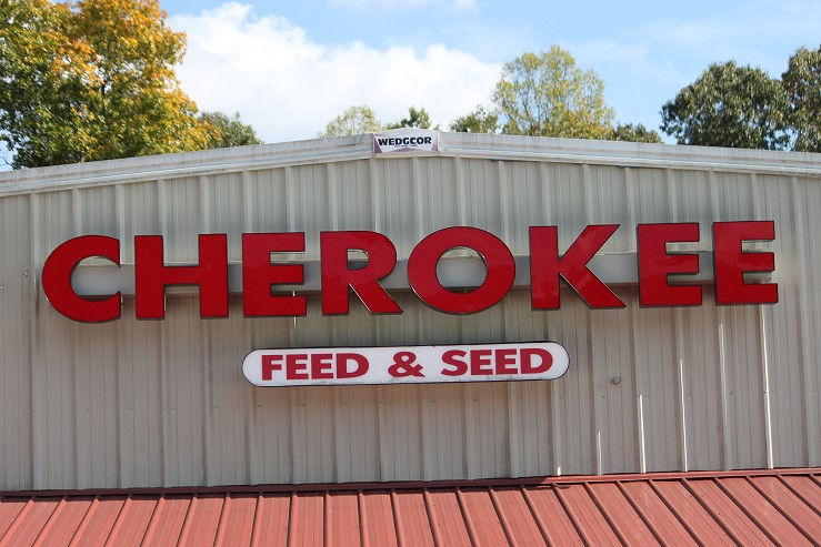 Cherokee Feed & Seed sign