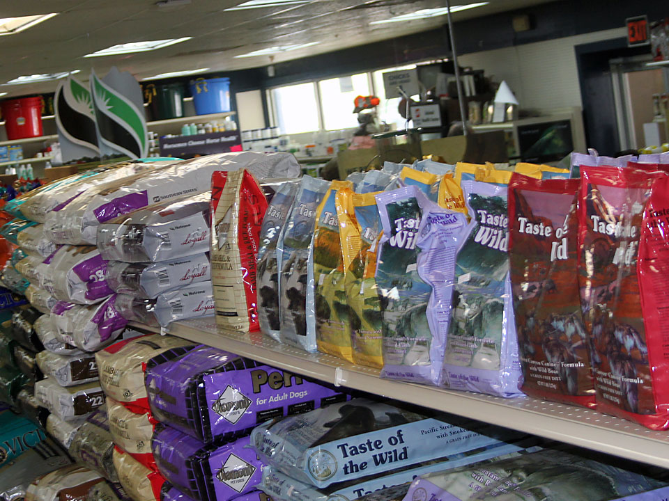Cherokee Feed & Seed carries a wide selection of dog food.