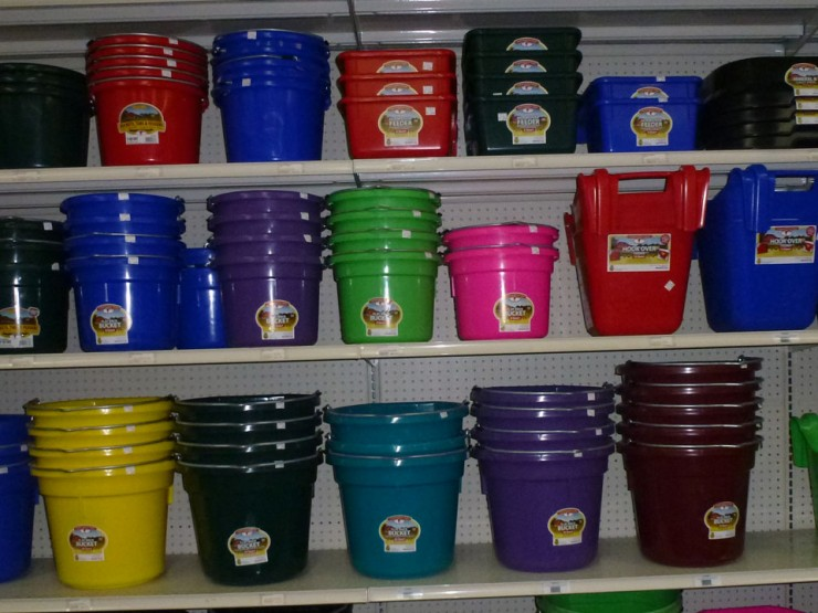 Water and Feed buckets for Horses at Cherokee Feed & Seed