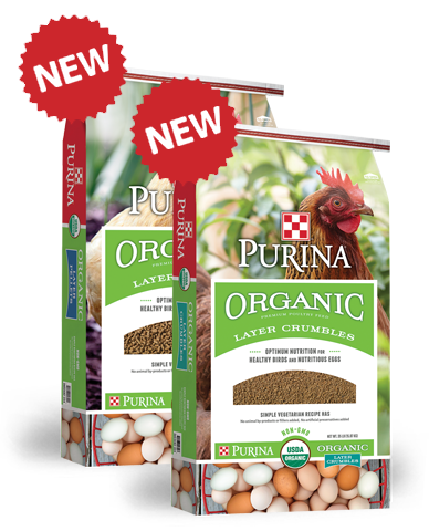 Purina Organic Chicken Feed is available at Cherokee Feed & Seed in Georgia