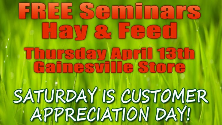 REE Horse FEED & HAY Seminars at Cherokee Feed & Seed - Gainesville Customer Appreciation Day is Saturday!