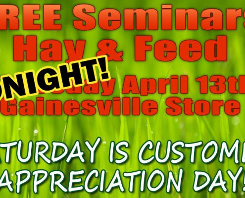 FREE Hay & Feed Seminars TONIGHT at Cherokee Feed & Seed in Gainesville, GA
