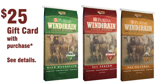 Purina Wind and Rain Storm cattle mineral promotion at Cherokee Feed & Seed stores.