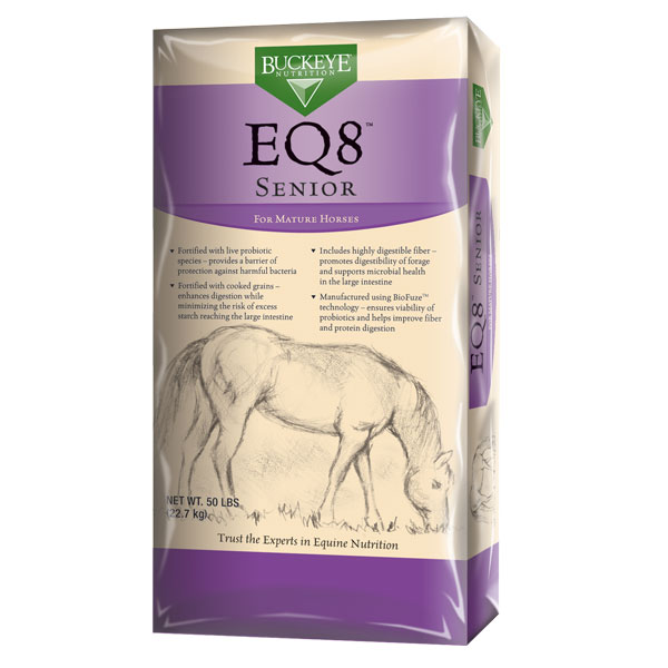 Buckeye EQ8 Senior horse feed is available at Cherokee Feed & Seed