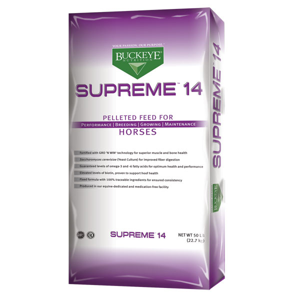 Buckeye Supreme 14 Pelleted horse feed is available at Cherokee Feed & Seed