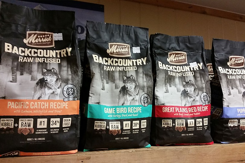 Merrick Backcountry Raw Infused dog food is available at Cherokee Feed & Seed stores.