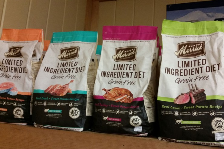 Merrick dog food is available at Cherokee Feed & Seed stores.