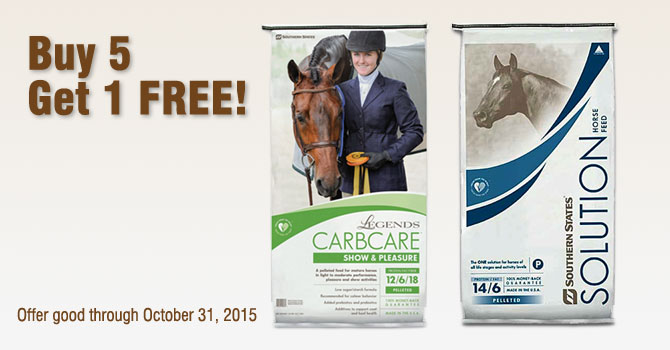 Legends CarbCare & Southern States Solutions Horse Feed Specials at Cherokee Feed & Seed