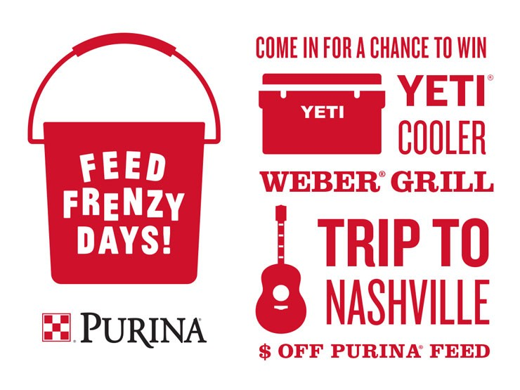 Win prizes during Purina Feed Frenzy Days at Cherokee Feed & Seed in Ball Ground!