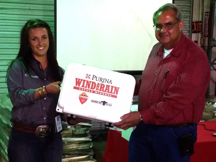 David Perkins won the YETI Cooler at the Cherokee Feed & Seed Gainesville Cattle Mineral Meeting