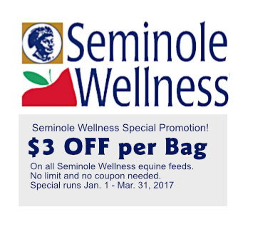 Seminole Wellness Horse Feed Special - Save $3 per Bag!