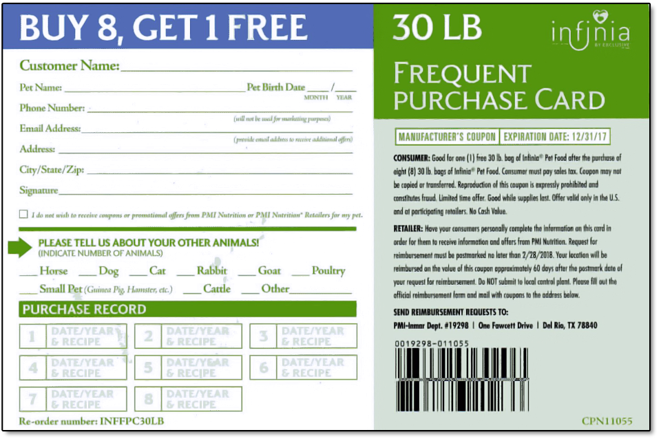 Infinia Holistic Dog Foods Frequent Purchase Card