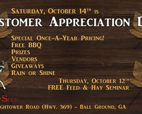 Customer Appreciation Day is October 14, 2017 at Cherokee Feed & Seed in Ball Ground, GA