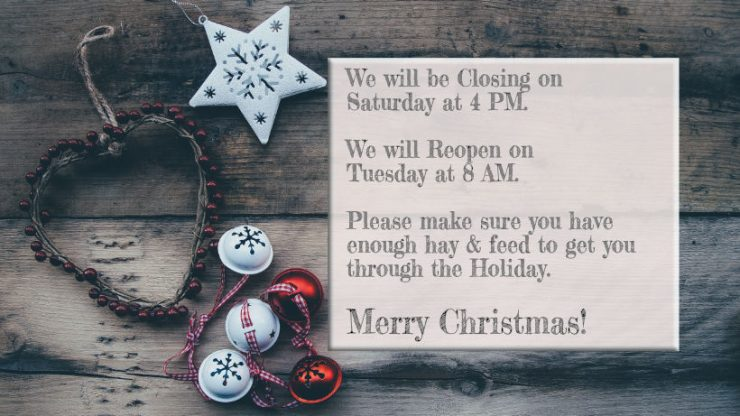 Cherokee Feed & Seed Christmas hours