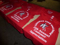 Free t-shirts for all who attended the FREE Horse Health Seminar at Cherokee Feed & Seed, Ball Ground, GA