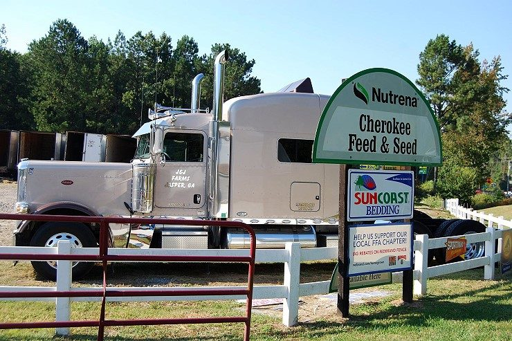 Delivery services and qualtiy hay are available at Cherokee Feed & Seed
