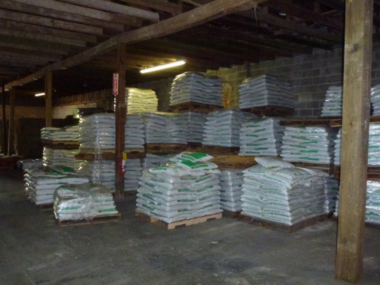 Cherokee Feed & Seed stocks a full warehouse of farm supplies and feed.