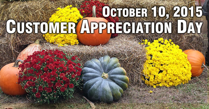 Cherokee Feed & Seed 2015 Customer Appreciation Day is Saturday, October 10, 2015