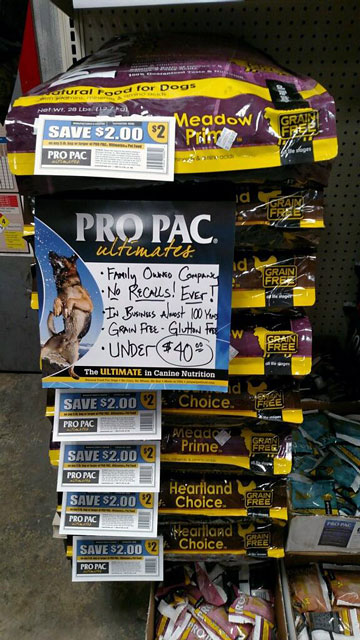 PRO PAC® Ultimates™ Line of Grain-Free, Dog Food. All Varieties Under $40/bag PLUS an Additional $2 Off!