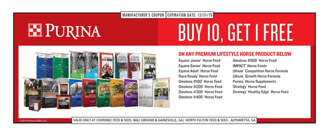 Purina Horse Feed Coupon - Valid only at Cherokee Feed & Seed stores.