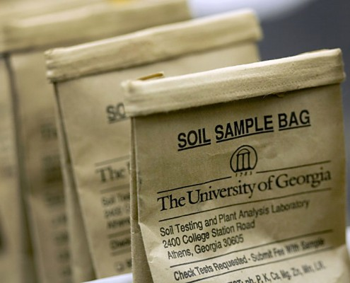 UGA soil sample bag for testing soil available at Cherokee Feed & Seed
