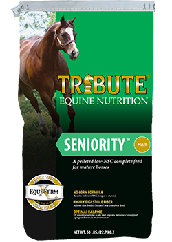 Tribute Equine Nutrition Seniority Horse Feed - available at Cherokee Feed & Seed