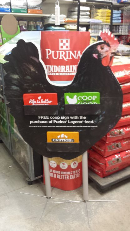 Purina Fun Chicken Coop Signs at Cherokee Feed & Seed stores in GA